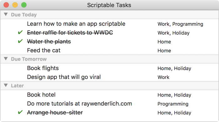 Making a mac app scriptable tutorial: Scriptable Tasks app