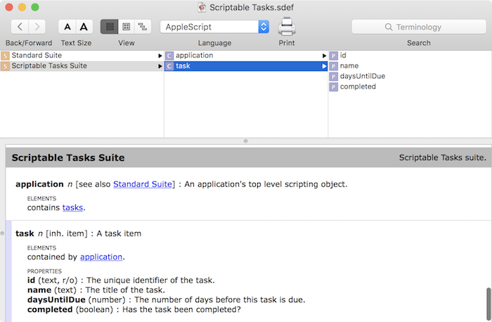 Making a mac app scriptable tutorial: Scriptable Tasks Dictionary 1