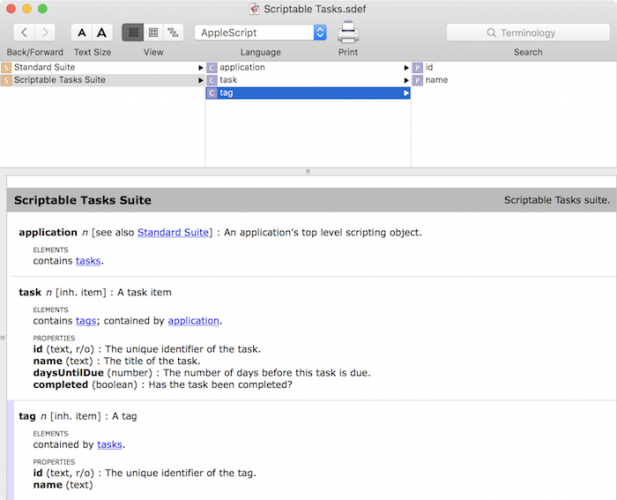 Making a mac app scriptable tutorial: Scriptable Tasks Dictionary 2