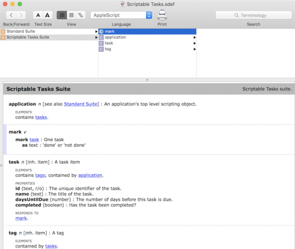 Making a mac app scriptable tutorial: Scriptable Tasks Dictionary 3