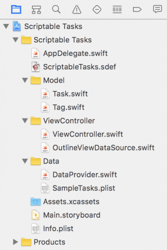 Making a mac app scriptable tutorial: Scriptable Tasks Project