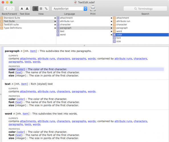 Making a mac app scriptable tutorial: Text Edit Dictionary