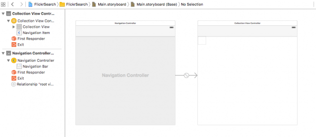 Storyboard with navigation controller and UICollectionViewController