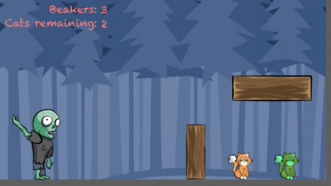 Make a game like Monster Island tutorial. One of the cats has been turned into a zombie.