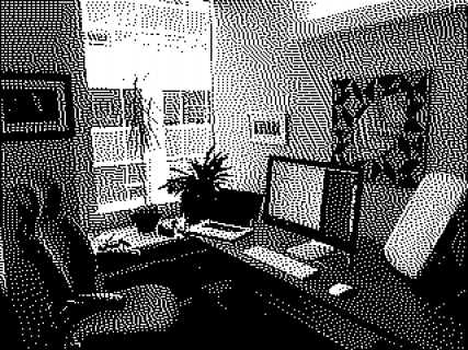Brent's desk at The Omni Group using his favourite camera app, Bitcam.
