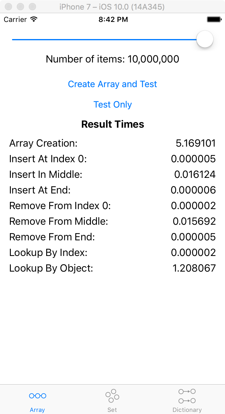 NSArray Create 10,000,000 items Xcode 8.0