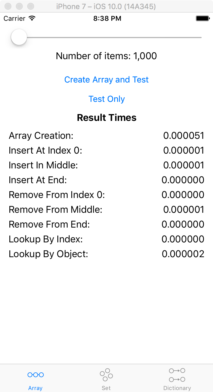 Swift 2.1.1 Create 1000 items