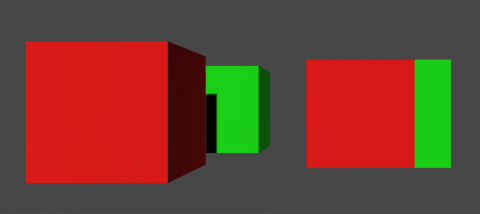 The two cubes in the left are being shown with Perspective projection while the cubes on the right are Orthographic.