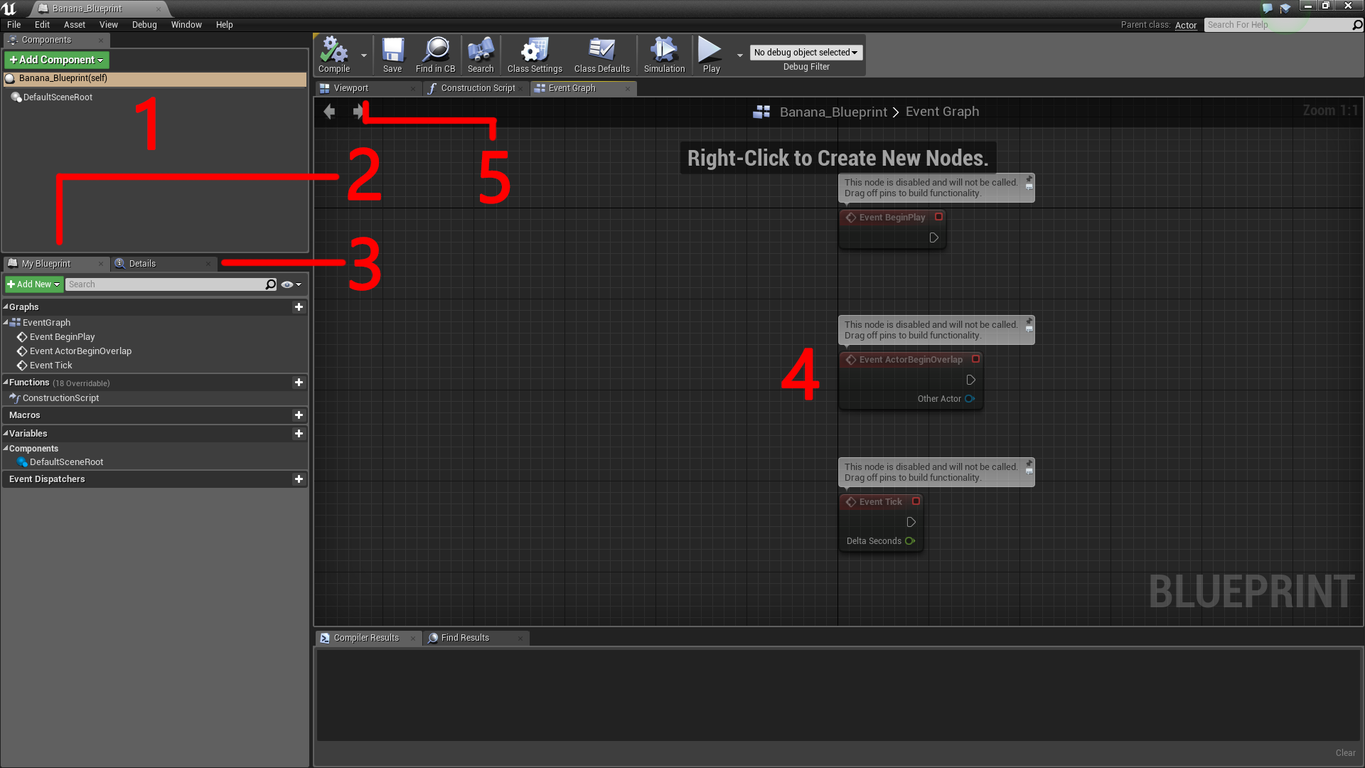 Unreal engine 4 tutorial for beginners getting started ray wenderlich the blueprint editor has four main panels 34 malvernweather Gallery