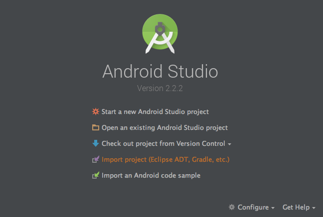 Android Studio Welcome Screen