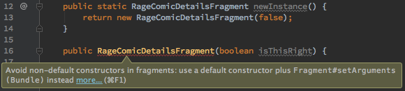 Lint warning for no default constructor