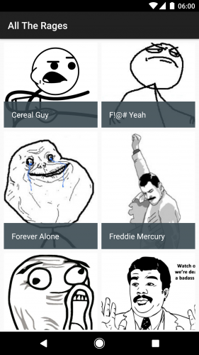 The list of Rage Comics. Woo!