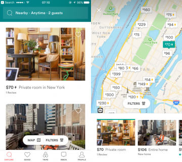 AirBnB on the other hand let's the user switch between a scannable map view option and a fast booking view. Both options provide different, relevant value and information to the user.