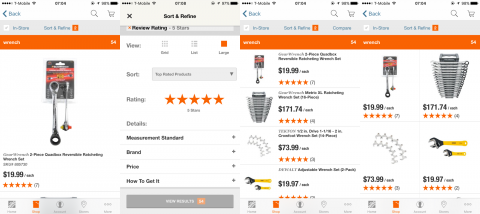 HomeDepot has three viewing options, but there's not much value added from one option to the other. It also requires two taps from the user to change, so the options are both redundant and cumbersome.