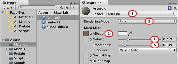 Asteroid Material Settings