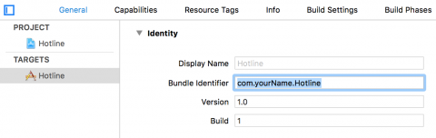 Changing the bundle identifier