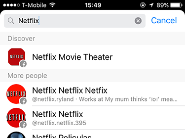 But when I try to find a recent conversation I had about Netflix, I discover that the only thing I can search for are entities with which to start conversations