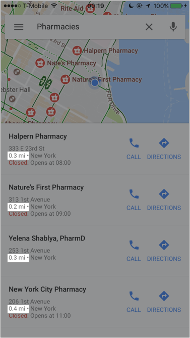 Even though Google is generally awesome as far as searching goes, their default sort on Maps is a little confusing. Users expect the results to be sorted by distance, but the results say otherwise.