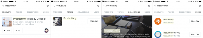 As the user types, ProductHunt provides four clear, overarching content categories in which they can search.