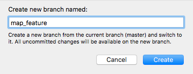 New Branch name pane