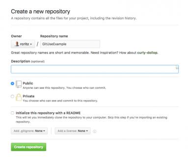GitHub New repo sheet