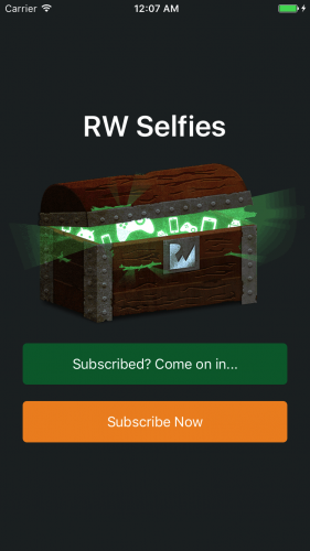 auto-renewable subscriptions  RW Selfies Landing Screen