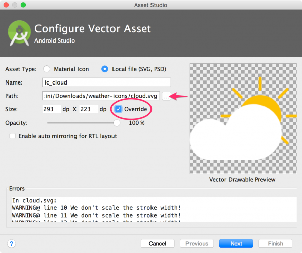 Android Studio Configure Vector Asset