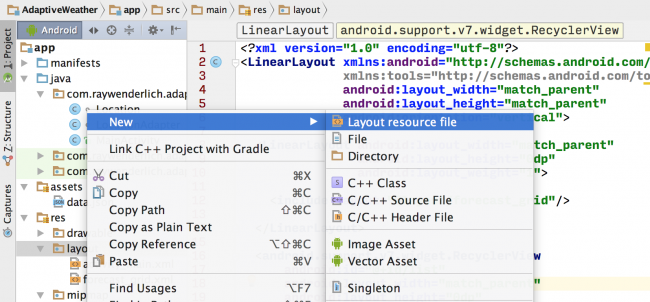 Android Studio Create New Layout 1