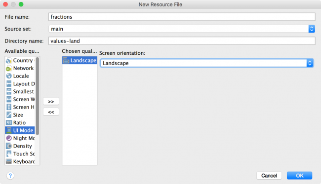 Android Studio New Fractions File