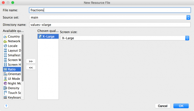 Android Studio Create New Fractions File