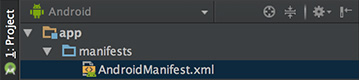 Screenshot of the Project pane in Android studio, showing 'AndroidManifest.xml' highlighted.