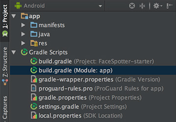 Screenshot of the Project pane in Android studio, showing 'build.gradle (Module:app)' highlighted.