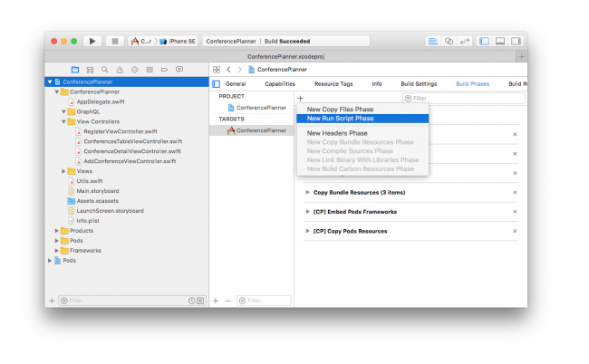 Xcode altering build phases adding new run script