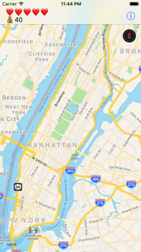 Initial view of the MapQuest app covered by this MapKit tutorial