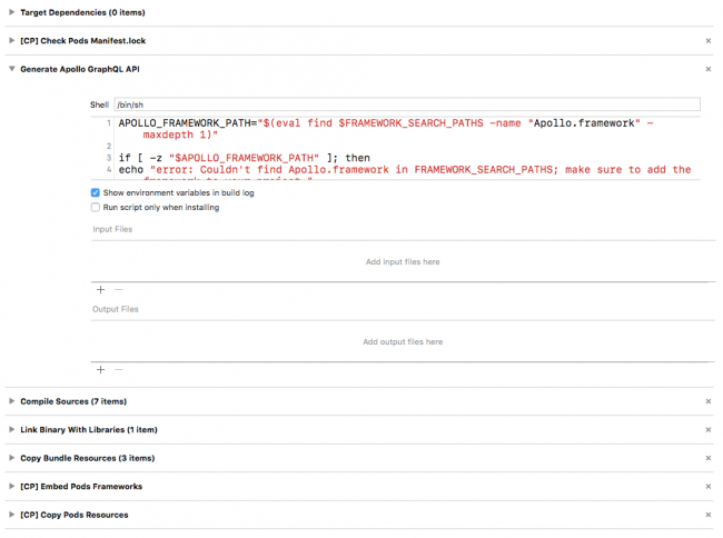 Build Script Run Phase Code to Run