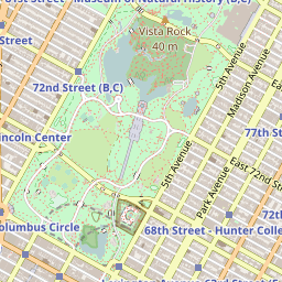 Open Street Map tile showing the southern part of Central Park