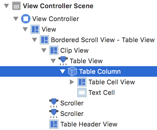 Selecting the table view