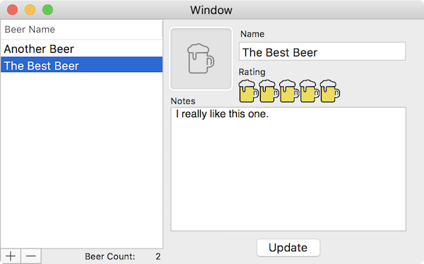 Final UI with some beers added.