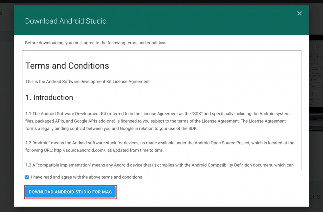 android-studio-terms-conditions