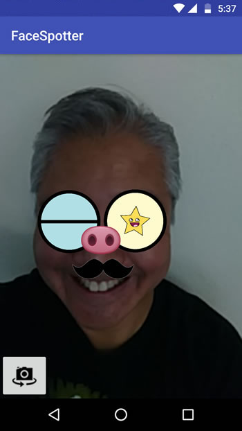 Augmented Reality-Me smiling as a cartoon with winking eyes