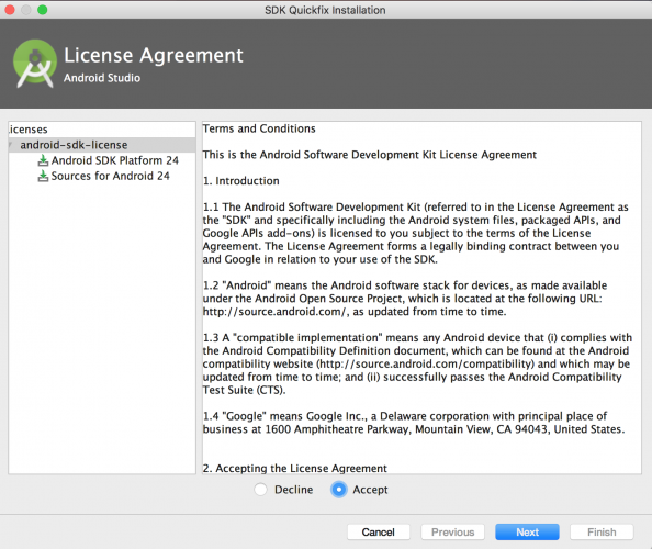 Beginning Android development - Android Studio license agreement