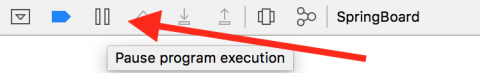 Xcode pause button in the LLDB Console