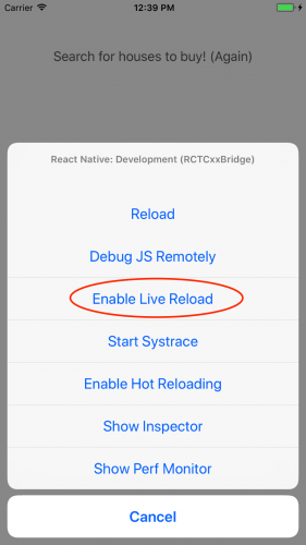Enabling live reload in a React Native iOS app