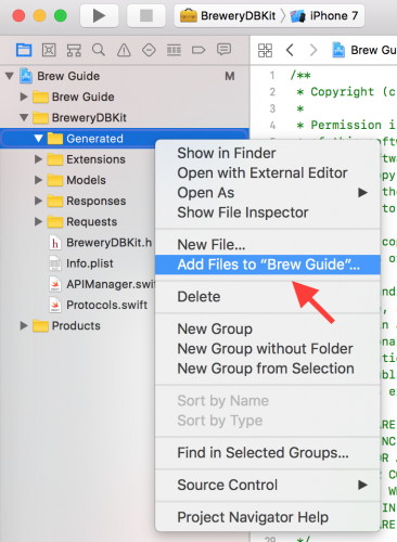 Adding a new file to an Xcode group
