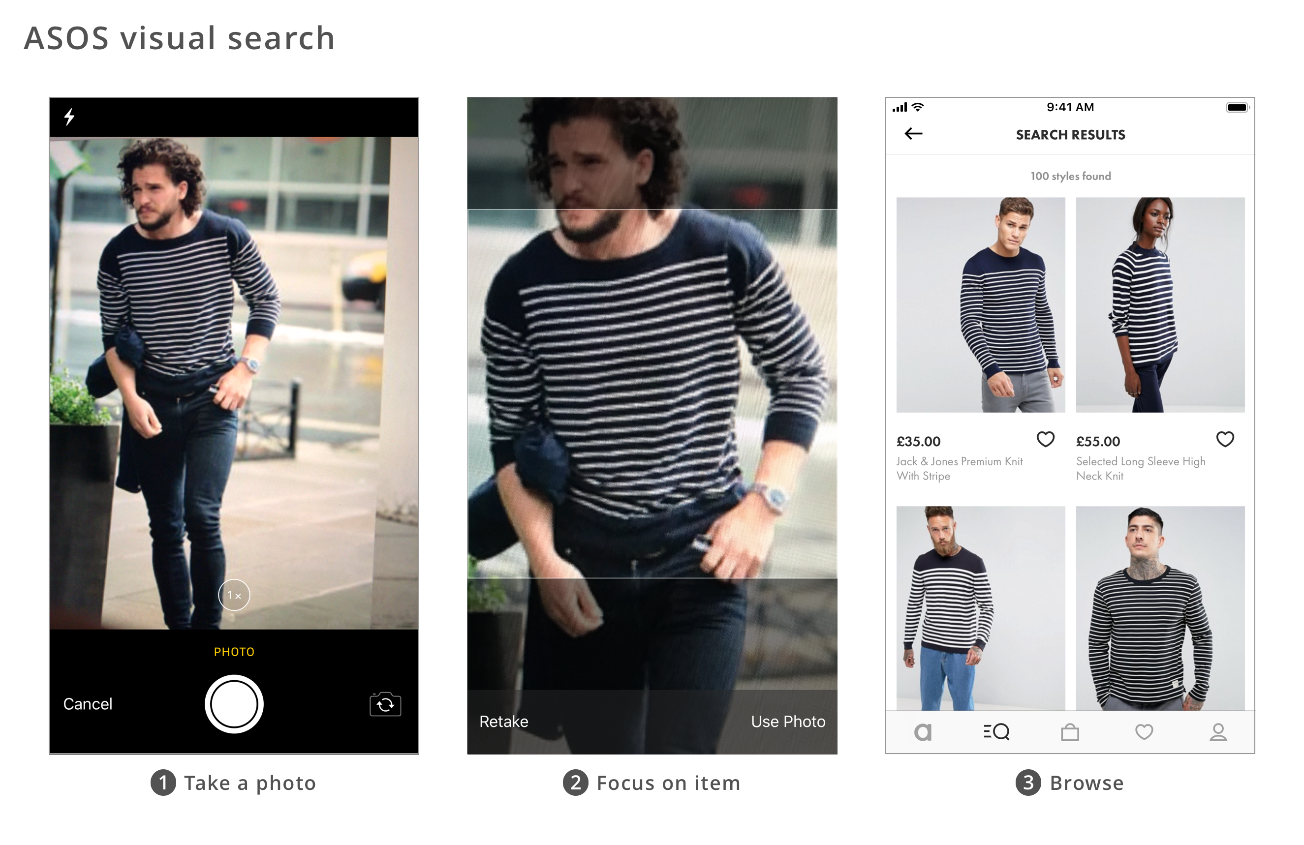 UX Design patterns for mobile apps_ASOS visual search