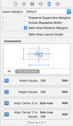 The constraints inspector showing width and height constraints with a constant of 100, a center Y constraint with a constant of 100, and a center X constraint.