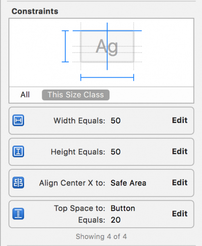 selecting size inspector values