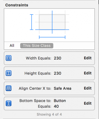 selecting values in size inspector for counter