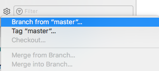 create new branch menu