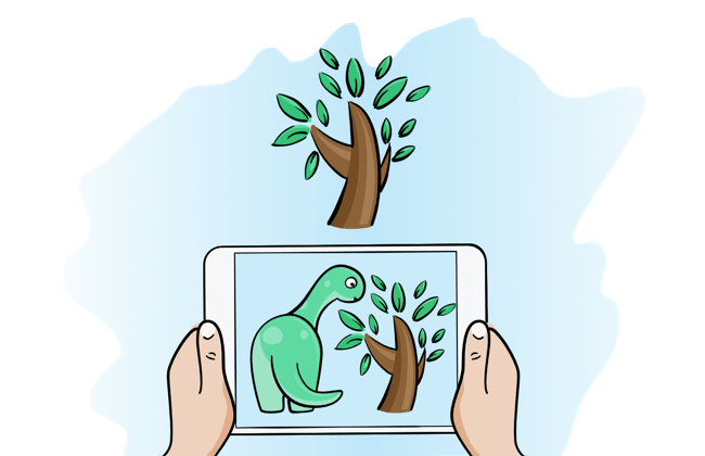 Drawing of mock AR iOS 11 app. Something like looking through phone at a 3d model